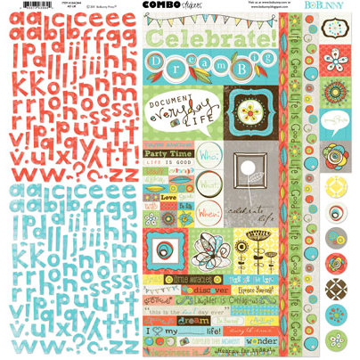 Bo Bunny Press - Ad Lib Collection - 12 x 12 Cardstock Stickers - Ad Lib Combo