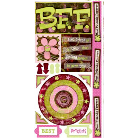 Bo Bunny Press - My Darling Collection - Cardstock Stickers - BFF, CLEARANCE