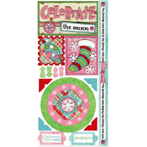 Bo Bunny Press - Holiday Cheer Collection - Cardstock Stickers - Celebrate, CLEARANCE