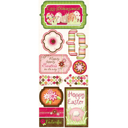 Bo Bunny Press - Vicki B Collection - Cardstock Stickers - Egg-stravaganza