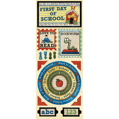 Bo Bunny Press - Learning Curve Collection - Cardstock Stickers - First Day of School
