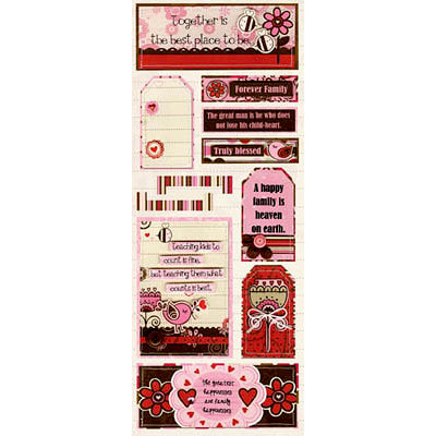Bo Bunny Press - Crazy Love Collection - Valentine - Cardstock Stickers - Family Love