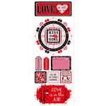 Bo Bunny - Crush Collection - Valentine - Cardstock Stickers - He Loves Me