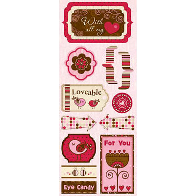 Bo Bunny Press - Crazy Love Collection - Valentine - Cardstock Stickers - Loveable