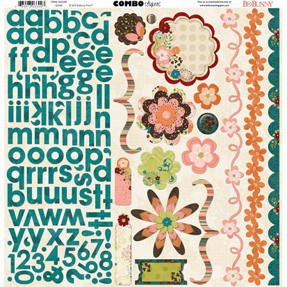 Bo Bunny Press - Olivia Collection - 12 x 12 Cardstock Stickers - Olivia Combo