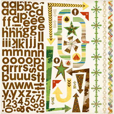 Bo Bunny Press - Roughin' It Collection - 12 x 12 Cardstock Stickers - Roughin' It Combo, CLEARANCE