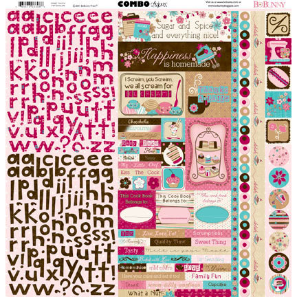 Bo Bunny - Sweet Tooth Collection - 12 x 12 Cardstock Stickers - Combo