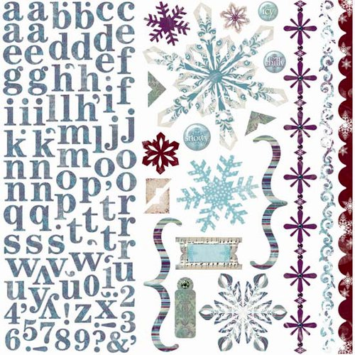 Bo Bunny Press - Snowy Serenade Collection - 12 x 12 Cardstock Stickers - Snowy Serenade Combo
