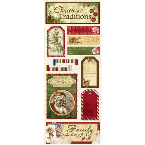 Bo Bunny Press - Noel Collection - Christmas - Cardstock Stickers - Traditions