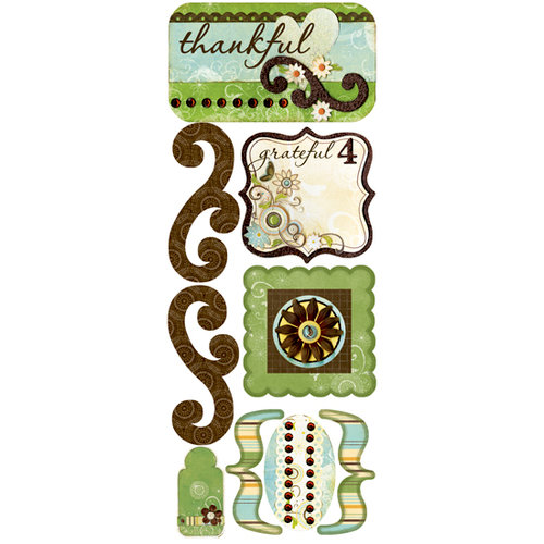 Bo Bunny Press - Flutter Butter Collection - Cardstock Stickers - Thankful, CLEARANCE