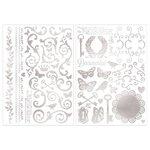 Bo Bunny - Foil Rub Ons - Filigree - Silver