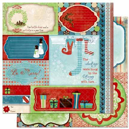 Bo Bunny - Blitzen Collection - Christmas - 12 x 12 Double Sided Paper - Cut Outs