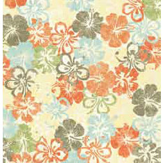 Bo Bunny Press - Beachy Keen Collection - 12x12 Paper - Beachy Keen Hibiscus- Beach - Summer