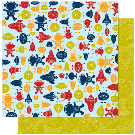 Bo Bunny - Blast Off Collection - 12 x 12 Double Sided Paper - Aliens