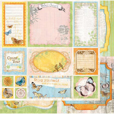 Bo Bunny - Country Garden Collection - 12 x 12 Double Sided Paper - Cut Outs