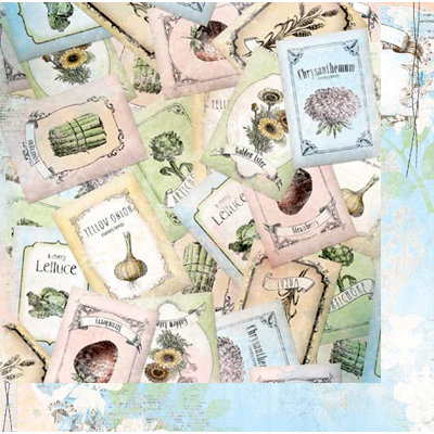 Bo Bunny - Country Garden Collection - 12 x 12 Double Sided Paper - Seeds