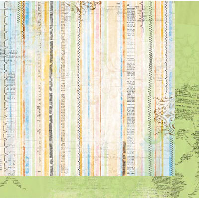 Bo Bunny - Country Garden Collection - 12 x 12 Double Sided Paper - Stripe