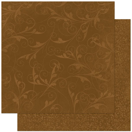 Bo Bunny Press - Double Dot Designs Collection - 12 x 12 Double Sided Paper - Flourish - Chocolate