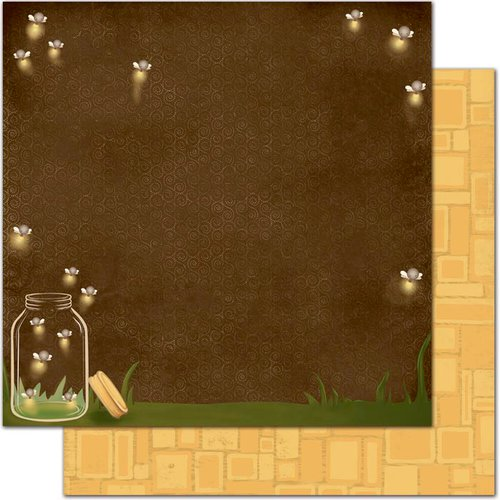 Bo Bunny - Camp-A-Lot Collection - 12 x 12 Double Sided Paper - Fireflies