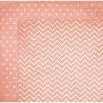 Bo Bunny - Double Dot Designs Collection - 12 x 12 Double Sided Paper - Chevron - Coral