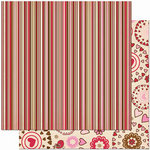 Bo Bunny Press - Crazy Love Collection - Valentine - 12 x 12 Double Sided Paper - Crazy Love Stripe