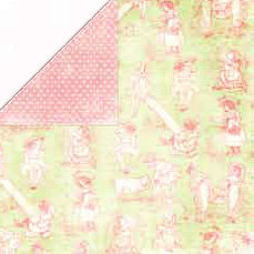 Bo Bunny Press - Shabby Princess - Ella Collection - 12x12 Double Sided Paper - Ella Toile - Easter - Baby