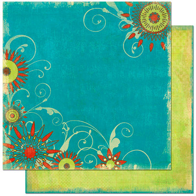 Bo Bunny Press - Flower Child Collection - 12 x 12 Double Sided Paper - Flower Child Aquarius