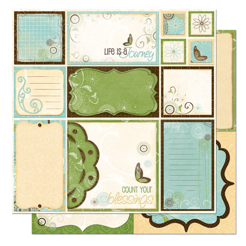 Bo Bunny Press - Flutter Butter Collection - 12 x 12 Double Sided Paper - Flutter Butter Cut Outs