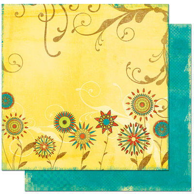 Bo Bunny Press - Flower Child Collection - 12 x 12 Double Sided Paper - Flower Child Groovy
