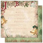 Bo Bunny Press - Father Christmas Collection - 12 x 12 Double Sided Paper - Jingle Bells