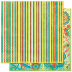 Bo Bunny Press - Flower Child Collection - 12 x 12 Double Sided Paper - Flower Child Stripe