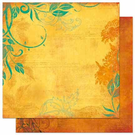 Bo Bunny - Forever Fall Collection - 12 x 12 Double Sided Paper - Sunflower
