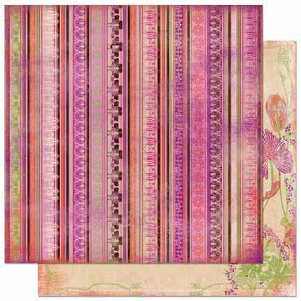 Bo Bunny Press - Garden Girl Collection - 12 x 12 Double Sided Paper - Stripe