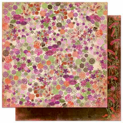 Bo Bunny Press - Garden Girl Collection - 12 x 12 Double Sided Paper - Wild Flowers