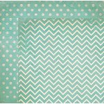 Bo Bunny - Double Dot Designs Collection - 12 x 12 Double Sided Paper - Chevron - Island Mist