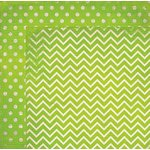 Bo Bunny - Double Dot Designs Collection - 12 x 12 Double Sided Paper - Chevron - Kiwi