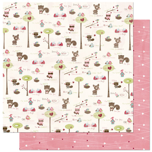 Bo Bunny Press - Love Bandit Collection - 12 x 12 Double Sided Paper - Love Bandit Love U Deerly, CLEARANCE