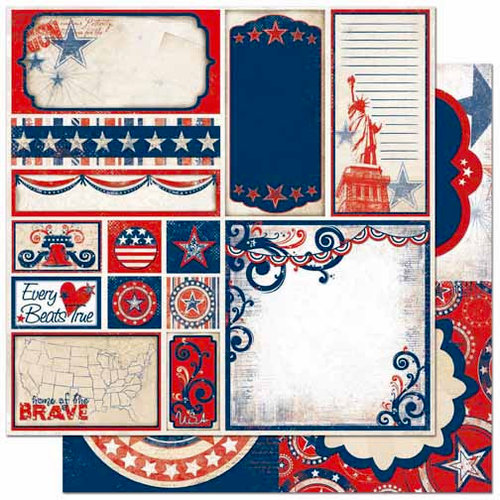 Bo Bunny - Liberty Collection - 12 x 12 Double Sided Paper - Cut Outs