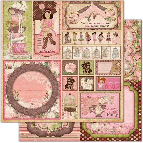 Bo Bunny - Little Miss Collection - 12 x 12 Double Sided Paper - Cut Outs