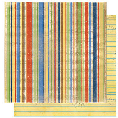 Bo Bunny Press - Learning Curve Collection - 12 x 12 Double Sided Paper - Learning Curve Stripe