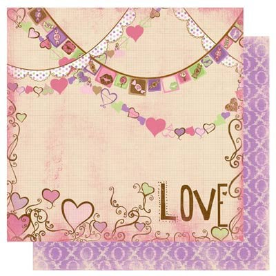 Bo Bunny - Smoochable Collection - 12 x 12 Double Sided Paper - Lovin' You