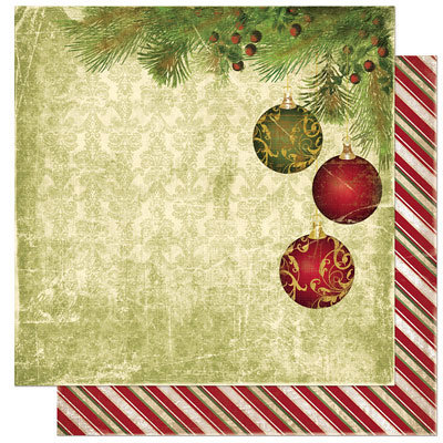 Bo Bunny Press - Noel Collection - Christmas - 12 x 12 Double Sided Paper - Noel Ornaments