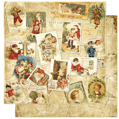 Bo Bunny Press - Noel Collection - Christmas - 12 x 12 Double Sided Paper - Noel Postcards