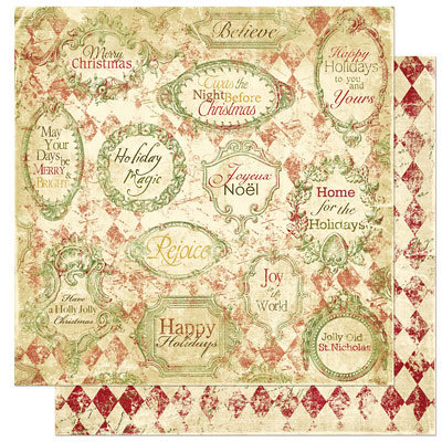 Bo Bunny Press - Noel Collection - Christmas - 12 x 12 Double Sided Paper - Noel Rejoice