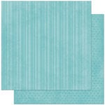 Bo Bunny - Double Dot Designs Collection - 12 x 12 Double Sided Paper - Stripe - Ocean