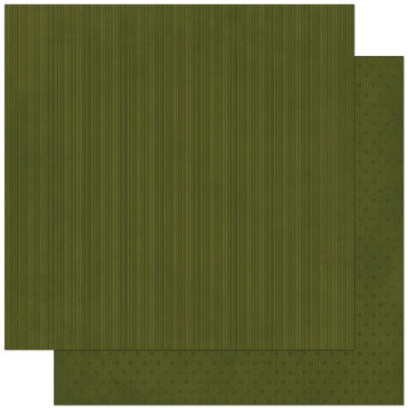 Bo Bunny Press - Double Dot Designs Collection - 12 x 12 Double Sided Paper - Stripe - Olive