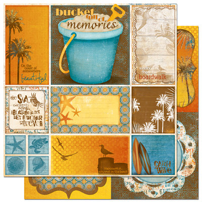 Bo Bunny Press - Paradise Collection - 12 x 12 Double Sided Paper - Paradise Cut Outs, CLEARANCE