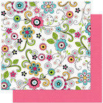 Bo Bunny Press - Petal Pushers Collection - 12 x 12 Double Sided Paper - Petal Pushers Doodles