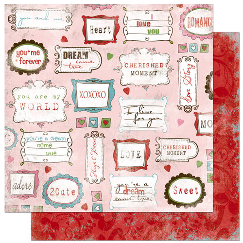 Bo Bunny Press - Persuasion Collection - 12 x 12 Double Sided Paper - Persuasion Love Notes, CLEARANCE