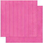 Bo Bunny Press - Double Dot Designs Collection - 12 x 12 Double Sided Paper - Stripe - Pink Punch